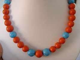 """TURQUOISE AND CORAL NECKLACE 12MM 18"""" AVLB - $40.00"""