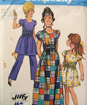 Simplicity 9443 Girls Size 12 Jiffy Dress  Pants Sewing Pattern  Vintage 70s - $9.95