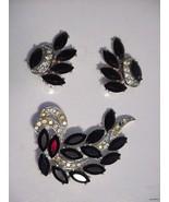 "Elegant Vintage Sarah Cov ""Vienna"" Black Mourning Brooch & Earring Set - $49.45"