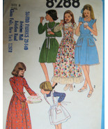 Simplicity 8288 Vintage  70s Pattern Girls 8 Dress Pinafore Apron Unused - $9.95