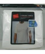 Hanes Tagless T-Shirts Fresh IQ Crew Neck 4 Pack Men's Medium White Cotton - $24.26