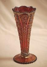 """Old Vintage 8"""" Imperial Red Carnival Glass Fluted Vase Hobstar Design IG... - $49.49"""