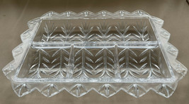 Vintage Rectangular Crystal Relish Candy Condiment Divided Serving Dish ... - $26.99