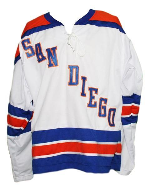 Custom Name # San Diego Mariners Retro Hockey Jersey White Falkenberg Any Size