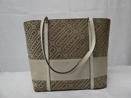 COACH Khaki, Tan, White Signature Losenge Tote Shoulder Bag F12252 - $89.00