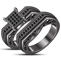 10K Black Gold Over Men Women His Her Diamond Engagement Bridal Wedding ... - $93.99