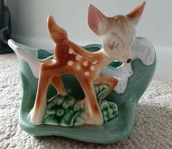 Vintage USA Bambi Deer Aqua Drip Planter Shawnee? - $50.00