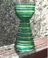 BEAUTIFUL VINTAGE HANDBLOWN GREEN GLASS VASE! - $12.00