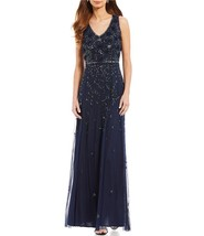 Pisarro Nights Sleeveless Beaded Mesh Gown SZ 14W ($298) Navy - $130.10
