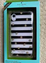 New Kate Spade Gold Dots Stripes Clear Silicon iPhone XR Black  Case Skin - $24.14