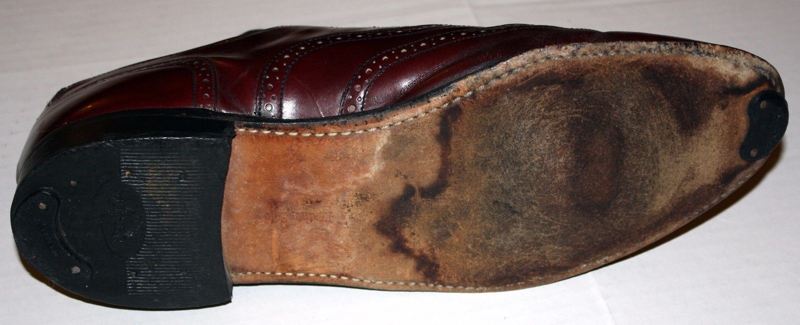 Vintage Dexter Leather Reddish Brown Mahogany Size 11 Brogue Wingtip Shoes USA