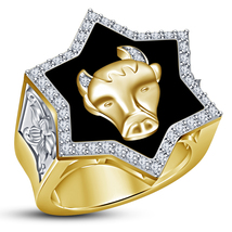 18k Gold Plated 925 Silver Round Cut White CZ Astrology Taurus Zodiac Me... - $148.99