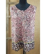 CAbi women's S Beguile button up tunic top #108 animal print sheer - $18.76