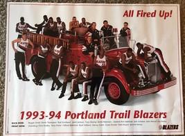 "VTG 1993-1994 Portland Trailblazers ""All Fired Up"" Poster 20"" x 15"" - $9.99"