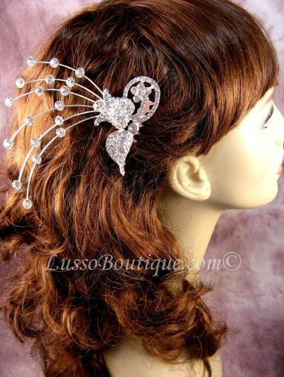 "Austrian Crystal Hair Comb ""Dora"" Bridal Clear free organza bag"