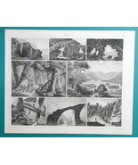 GEOLOGY World Caves Grottoes Forests Naples Naxos Brazil - 1844 Superb P... - $17.55