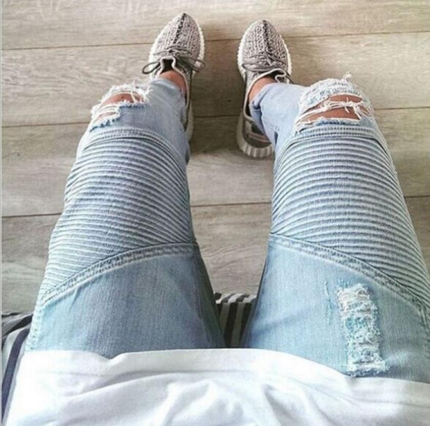 New Men hip hop Men Jeans masculina Casual Denim distressed Men's Slim Jeans pan image 5