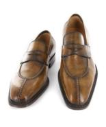 Men Brown Leather Splito Design Penny Loafer Shoes  - $156.73+