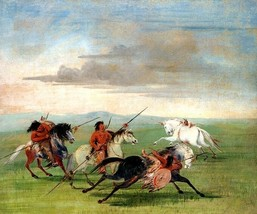 Comanche Feats Of Horsemanship Horse American Indian 1834 By George Catlin Repro - $10.96+