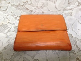 Authentic, Louis Vuitton, Orange Epi Leather Trifold Wallet-Coin Purse 4.5inx4in - $118.70