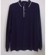 Mens Port Authority NWOT Navy Blue Ivory Trim Long Sleeve Polo Shirt Siz... - $15.95