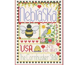 Nebraska Little State Sampler cross stitch chart Alma Lynne Originals - $6.50