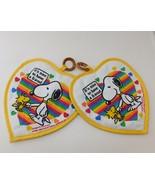 2 Vintage Peanuts Snoopy & Woodstock POTHOLDERS Rainbow Friends - $19.30