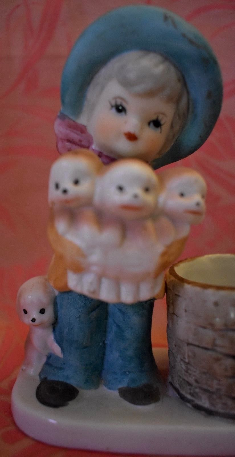 Girl with Dogs Candle Holder tealight hand painted porcelain Little Luvkins 1978