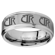 8mm Multiple CTR Step Edges Brushed Tungsten Carbide Anniversary Ring - $39.99