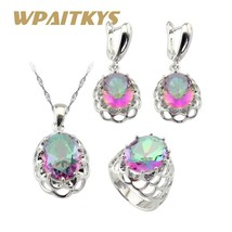 Huge Multicolor Rainbow Cubic Zirconia Silver Color Jewelry Sets For Wom... - $29.13