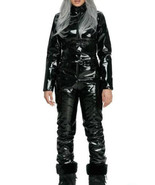 Woman Man Black Nylon Jumpsuit Shiny Wet Vinyl Gloss Ski Suit Sport Snow... - $270.00