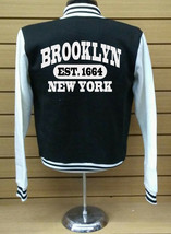 Brooklyn Letterman Varsity Collage Baseball BLACK/WHITE Fleece Jacket - $29.99