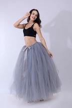 Women RAINBOW Maxi Skirt Drawstring Waist Mint Gray Maxi Tulle Skirt Petticoats image 6