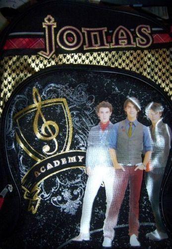 Jonas Brothers Large Backpack Nick Joe Kevin Black with Gold Glitter Side Pocket Other