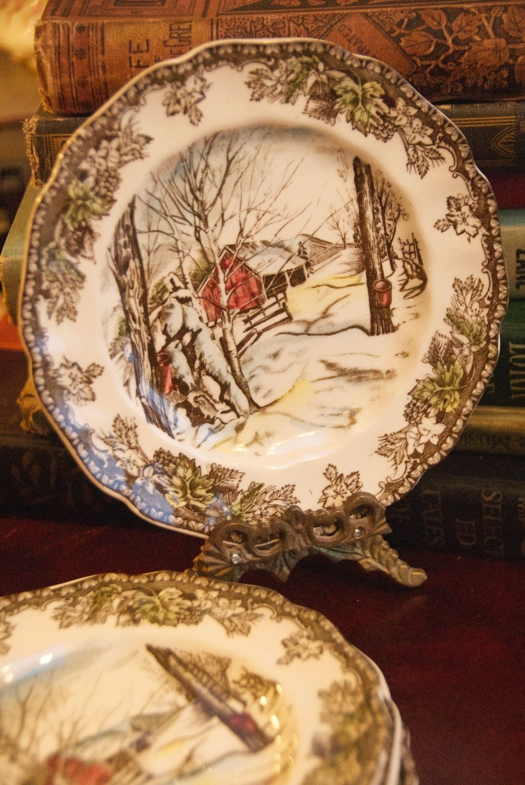 Primary image for JOHNSON BROS SUGAR MAPLES BREAD PLATE FRIENDLY VILLAGE VINTAGE ENGLAND IRONSTONE