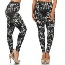 Womens Plus Size Blue Floral Black Buttery Soft Leggings (One Size Plus) - $13.81