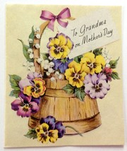 Unused Vintage Card Volland Mother's Day to Grandma Pansies Lilly of Valley - $12.86