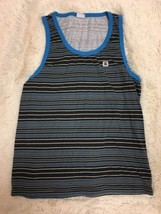 DC Men's Tank Top Size M Gray Blue Striped Sleeveless  - $19.79