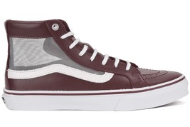 VANS Sk8 Hi Slim Cutout (Mesh) Port/True White Leather Skate Shoes MEN'S... - $51.38