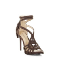 BCBG Max Azria Women's Esh Brown Leather Woven High Heel Strappy Sandals - $79.06