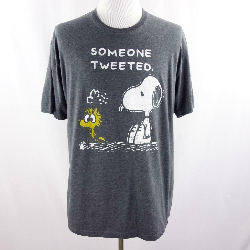 Primary image for Peanuts Snoopy and Woodstock Someone Tweeted Graphic Gray T Shirt Mens Sz XL