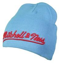 Mitchell & Ness Light Carolina Blue Red Est 1904 Beanie Winter Hat Skull Cap NWT