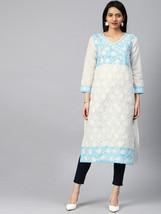 White Kurti Traditional Kurta Partywear Embroidery Women Georgette Side ... - €24,06 EUR