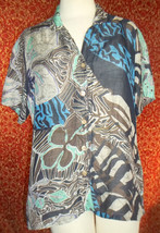 MANGO TANGO navy artsy abstract rayon/linen short sleeve blouse M (T3303... - $7.90