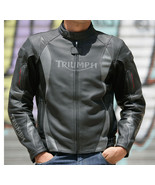 TRIUMPH BLACK ARROW COWHIDE MOTORCYCLE LEATHER JACKET  - $159.00
