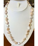 """Multi-Color Coin Pearl Necklace 24"""" Baroque Freshwater Silver Strand 12-... - $36.58"""