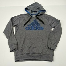 Adidas Mens Hoodie Sweatshirt Small S Gray Blue Pullover Solid Adult Spe... - $29.49