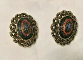 Vintage Sarah Coventry Old Vienna Clip On Earrings Mosaic Design - $9.89