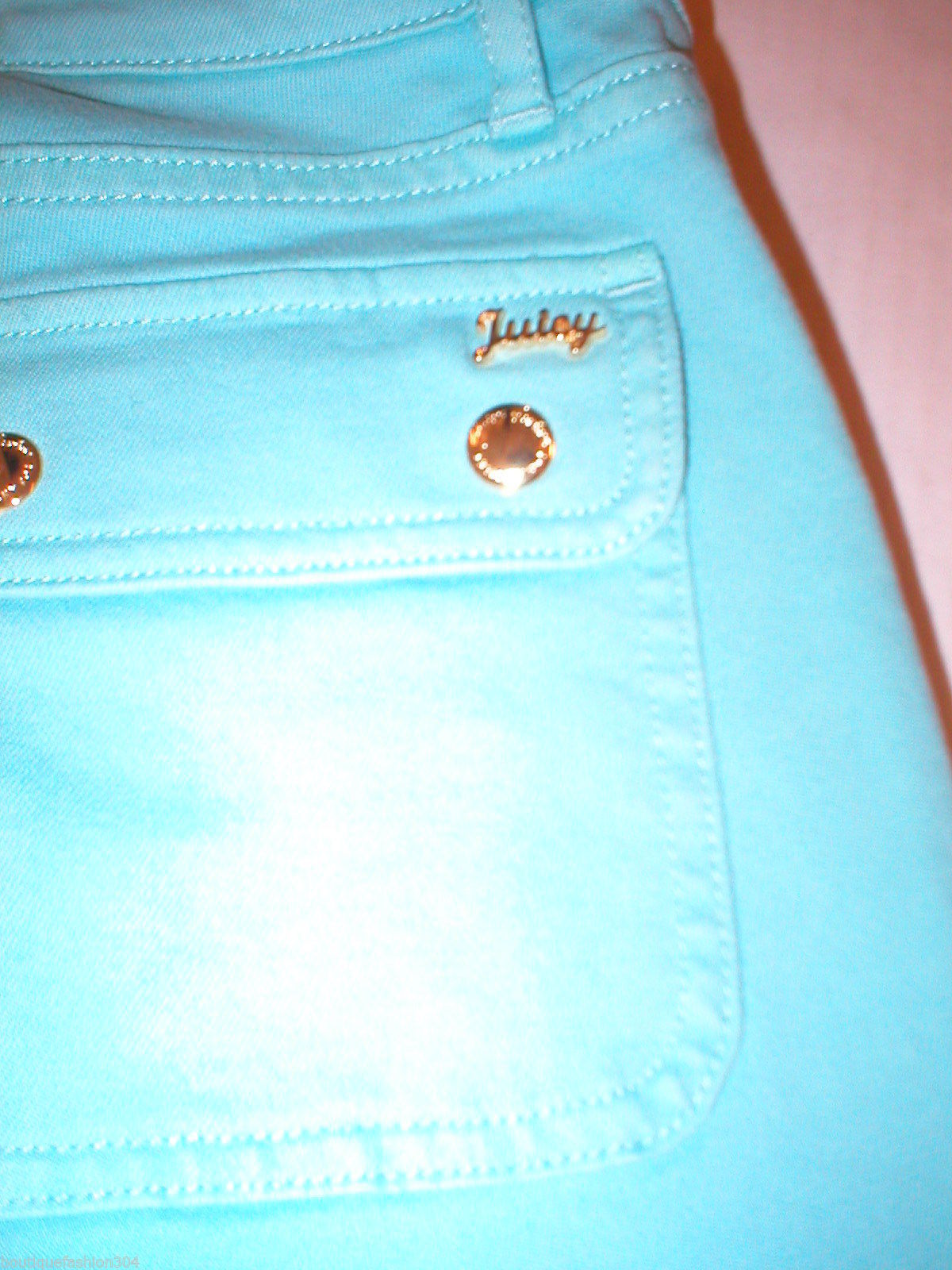 New Logo Crop Jeans Juicy Couture 25 Womens Snap Pockets Aqua Blue Teal Skinny image 3
