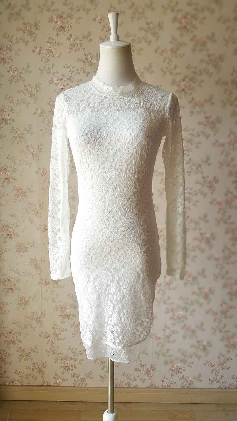 Ivory White Long Sleeve Round Neck Full Lace Short Dress Alternative Wedding NWT
